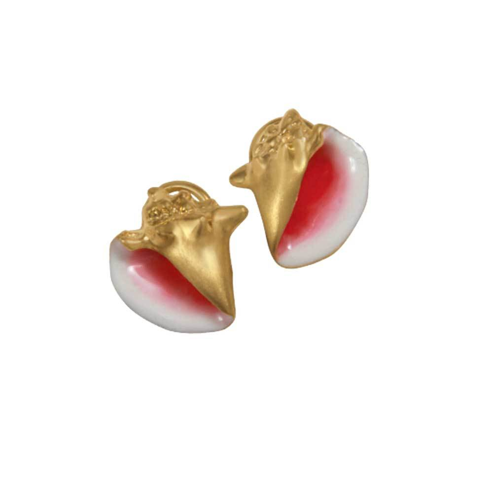 14k Yellow Gold Medium Conch Pink Enamel Earrings with Omega Backs