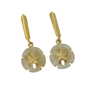 14K Yellow Gold 14mm Sanddollar Enamel Euro Earrings