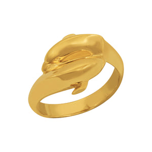 14K Yellow Gold By-Pass Dolphin Ring, Size 7