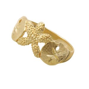 14k Yellow Gold 2 Sanddollar and Starfish Ring