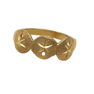 14k Yellow Gold Triple Sanddollar Ring