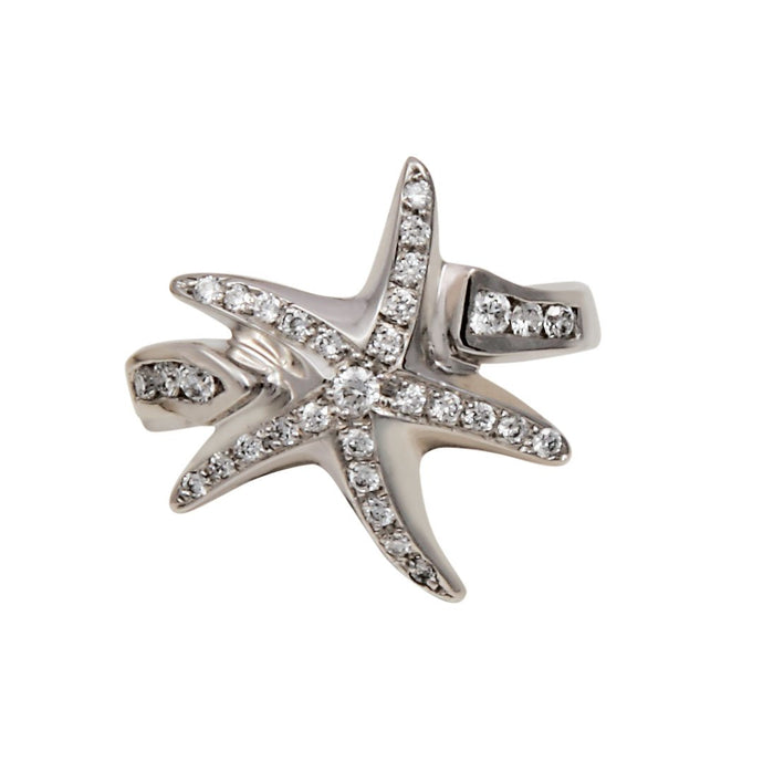 14k White Gold Pave Starfish with Diamond Band Ring D=.36tw