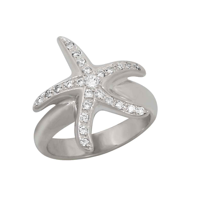 14k White Gold Pave Starfish with Diamond Ring, D=.26tw