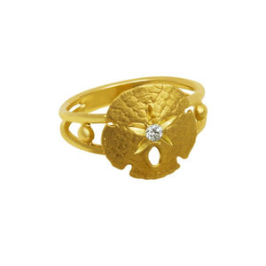 14k Yellow Gold 14mm Sanddollar with Diamond Center Ring