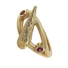 "Load image into Gallery viewer, 01 January ""Birthshell"" 14K Yellow Gold Ring: The Auger Shell with Garnets"