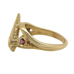 "01 January ""Birthshell"" 14K Yellow Gold Ring: The Auger Shell with Garnets"