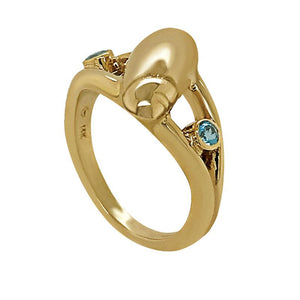 "03 March ""Birthshell"" 14K Yellow Gold Ring:  The Olive Shell with Aquamarines"