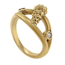 "Load image into Gallery viewer, 04 April ""Birthshell"" 14K Yellow Gold Ring: The Wentletrap with Diamonds"