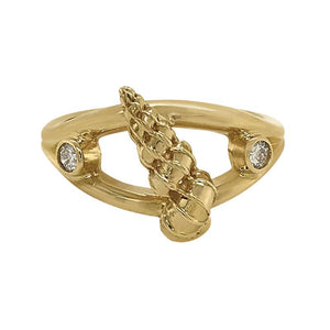 "04 April ""Birthshell"" 14K Yellow Gold Ring: The Wentletrap with Diamonds"