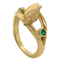 "Load image into Gallery viewer, 05 May ""Birthshell"" 14K Yellow Gold Ring: The Junonia Shell with Emeralds"
