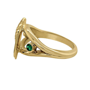 "05 May ""Birthshell"" 14K Yellow Gold Ring: The Junonia Shell with Emeralds"