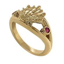 "Load image into Gallery viewer, 07 July ""Birthshell"" 14K Yellow Gold Ring: The Lion's Paw with Rubies"