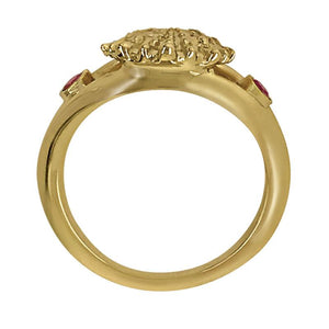 "07 July ""Birthshell"" 14K Yellow Gold Ring: The Lion's Paw with Rubies"