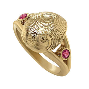"10 October ""Birthshell"" 14K Yellow Gold Ring: The Baby's Ear with Pink Tourmalines"