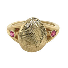 "Load image into Gallery viewer, 10 October ""Birthshell"" 14K Yellow Gold Ring: The Baby's Ear with Pink Tourmalines"