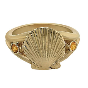 "11 November ""Birthshell"" 14K Yellow Gold Ring: The Scallop Shell with Citrines"