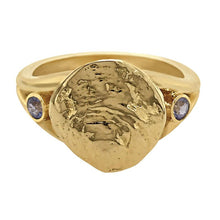"Load image into Gallery viewer, 12 December ""Birthshell"" 14K Yellow Gold Ring: The Jingle Shell with Tanzanites"