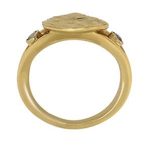 "12 December ""Birthshell"" 14K Yellow Gold Ring: The Jingle Shell with Tanzanites"