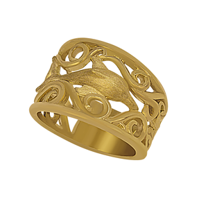 14k Yellow Gold Wide Waves with Dolphin Ring, Size 6
