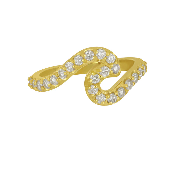 14K Yellow Gold Diamond Wave Ring, D=.63tw, Size 7