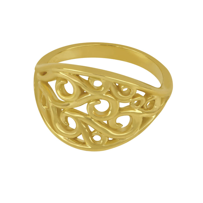 14K Yellow Gold Oval Wave Ring, Size 6.75