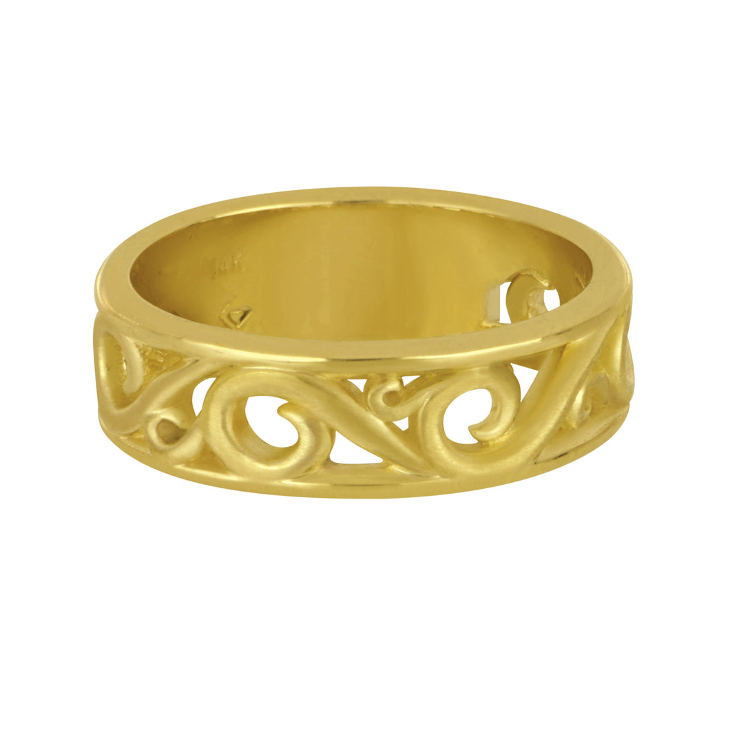 14K Yellow Gold Narrow Wave Band, Size 6.5