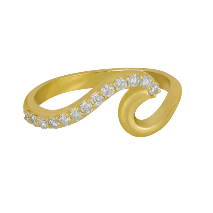 14K Yellow Gold 1/2 Diamond Wave Ring, 13D=.24tw, Size 7