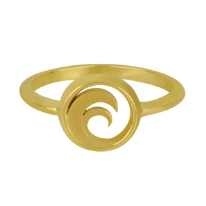 14K Yellow Gold Small Circle Wave Ring, Size 6.5
