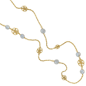"14K Yellow Gold 32"" Necklace  Open Sanddollars and Coin Pearl Accents"