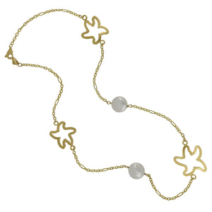 "14K Yellow Gold 18"" Necklace with 5 Open Starfish and Coin Pearls"