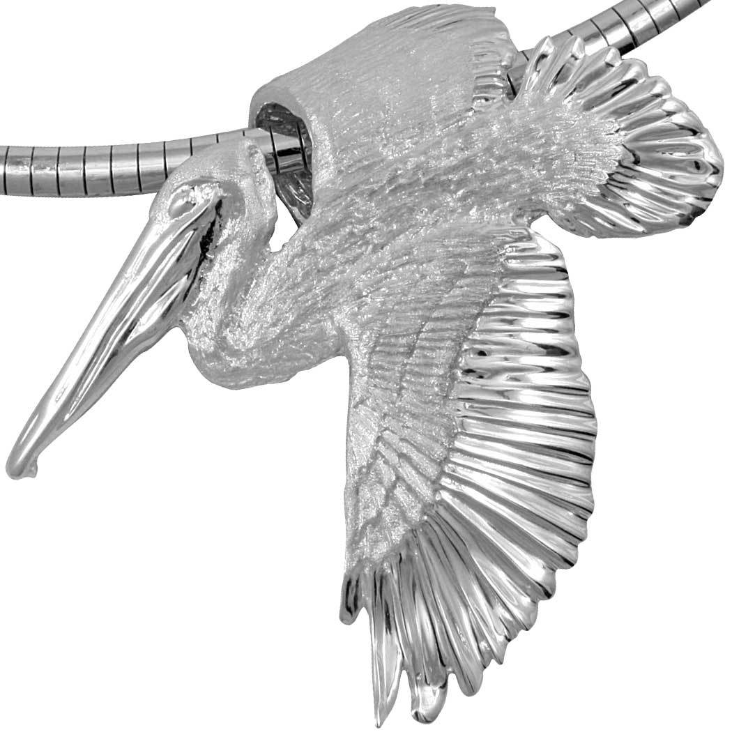Sterling Silver Large Foldover Wing Pelican Pendant