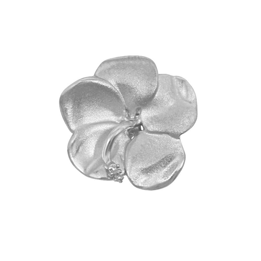Sterling Silver 17mm Hibiscus Pendant