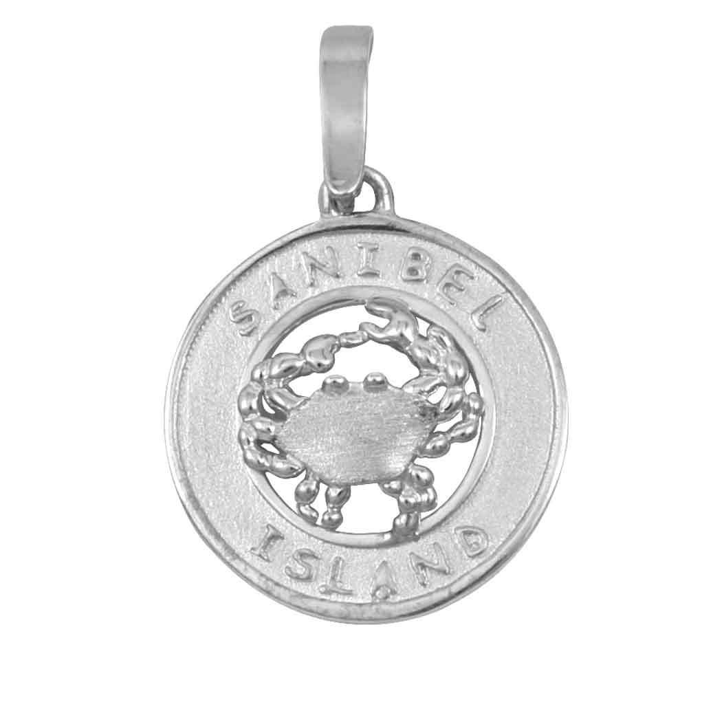 Sterling Silver Sanibel Disc with Crab Pendant