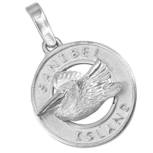 Sterling Silver Sanibel Disc with Pelican Pendant
