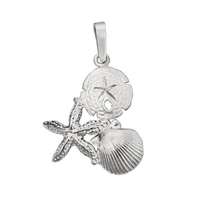 Sterling Silver Large Pectin, Starfish and Sanddollar Pendant