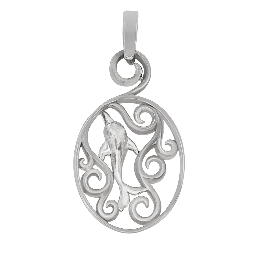 Sterling Silver Oval Waves with Dolphin Pendant