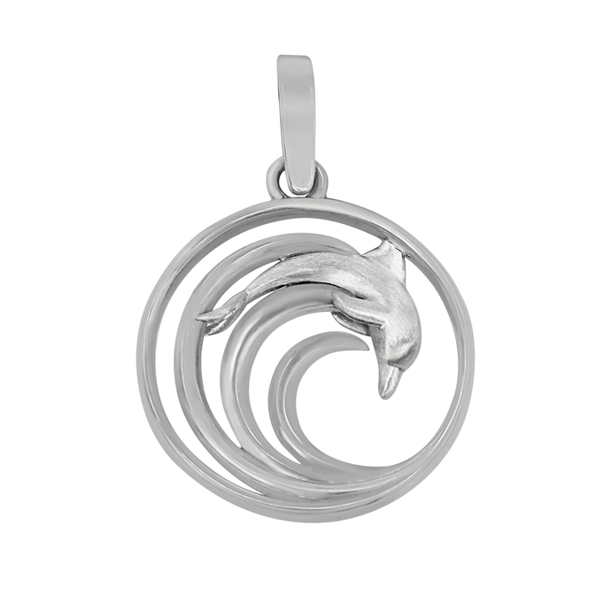 Sterling Silver Round Wave with Dolphin Pendant