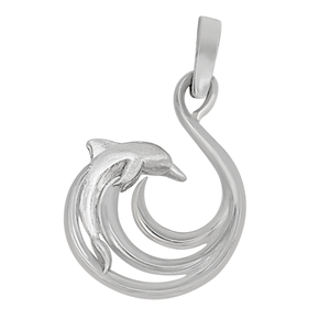 Sterling Silver Open Wave with Dolphin Pendant