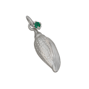 "05 May ""Birthshell"": Sterling Silver Charm: The Junonia Shell with Emerald"