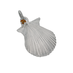 "11 November ""Birthshell"": Sterling Silver Charm: The Scallop Shell with Citrine"