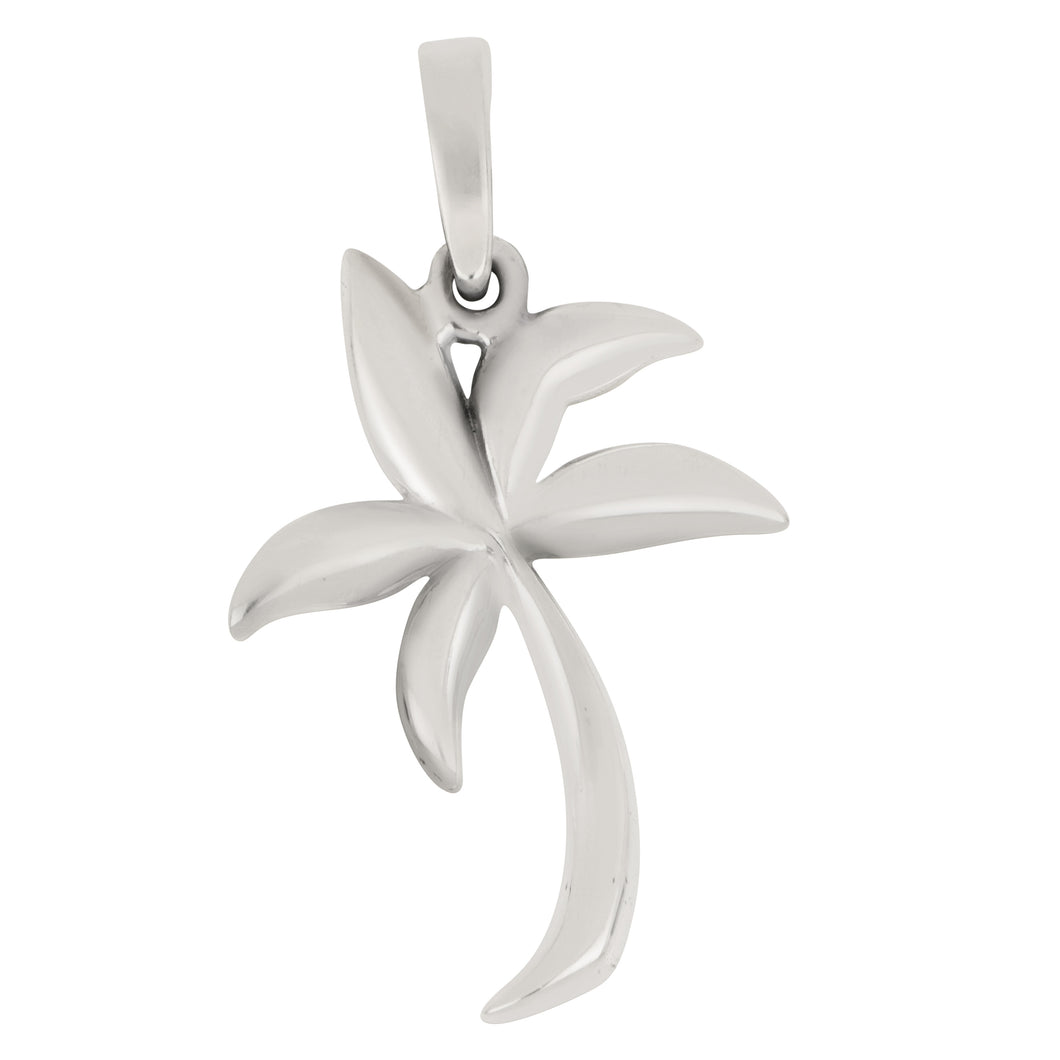Sterling Silver Med Soft Graphic Palm Tree Pendant