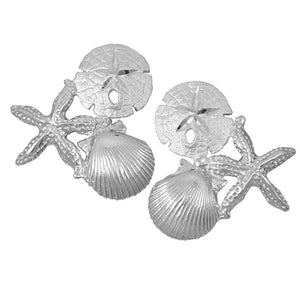 Sterling Silver Starfish, Sanddollar and Pectin Earrings