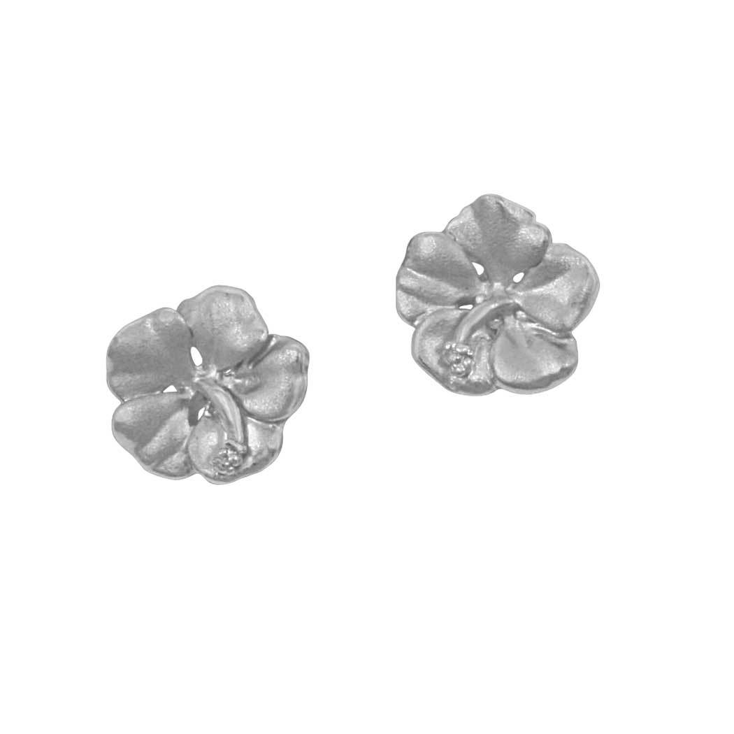 Sterling Silver Small Hibiscus Earrings