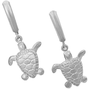 Sterling Silver Small Turtle Euro Earrings