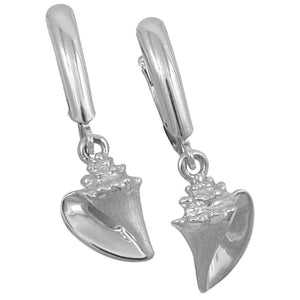 Sterling Silver Small Conch Euro Wire Earrings