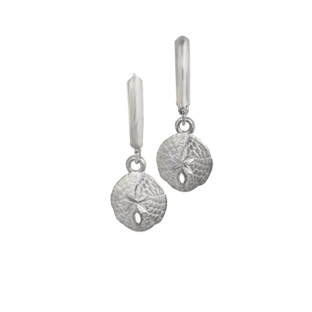 Sterling Silver 11mm Sanddollar Euro Wire Earrings
