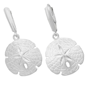 Sterling Silver 20mm Sanddollar Euro Wire Earrings