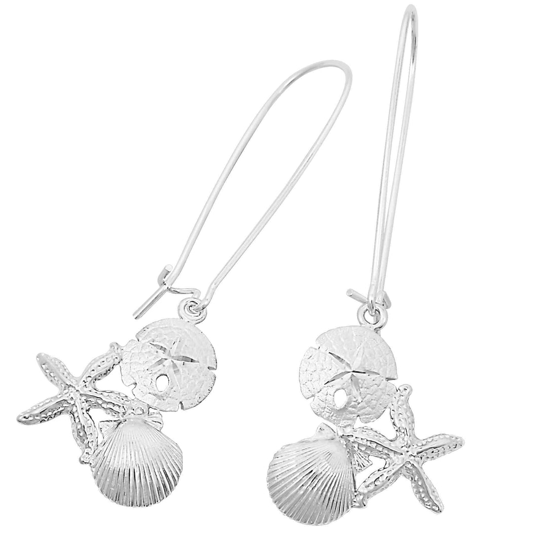 Sterling Silver Starfish, Sanddollar and Pectin On Kidney Wire Earrings