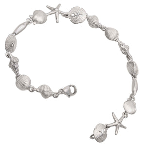 "Sterling Silver 8"" Tiny Sealife Bracelet"