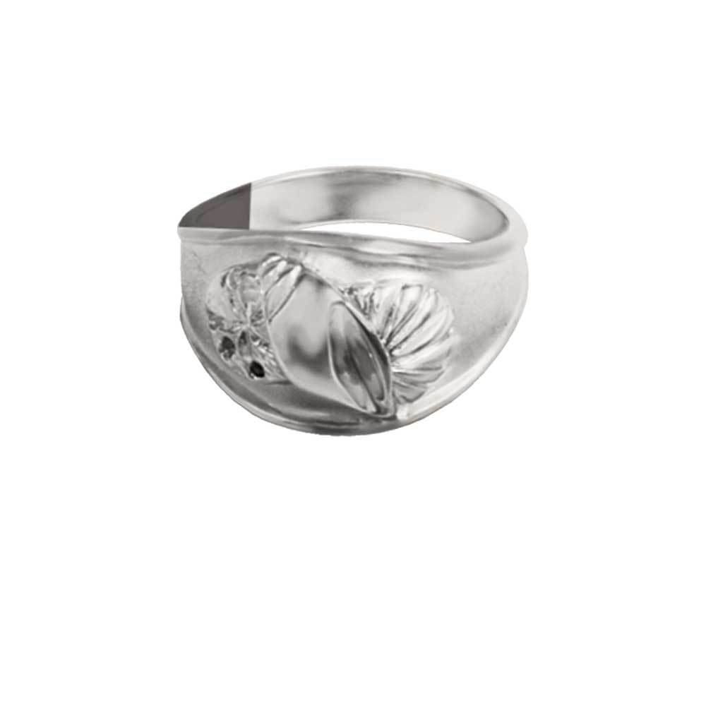 Sterling Silver Wide 3 Shell Ring